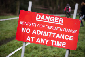 Image of 'danger - no admittance' MOD sign