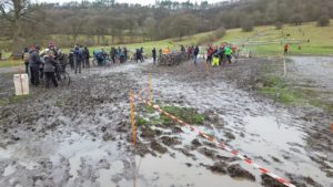 The pits were just as sloppy and muddy as the worst of the course (photo Ian Bradley)